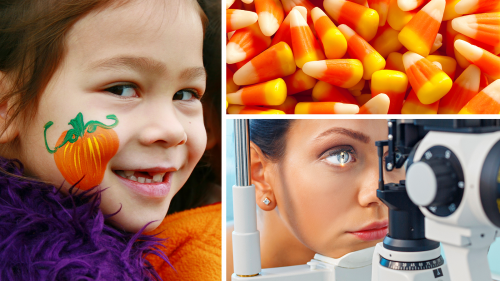 collage of three photos showing a young child smiling with an orange pumpkin painted on her face, candy corn, and a woman being properly examined and fitted for colored contact lenses