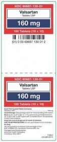 Valsartan Tablets USP, 160 mg, 100 tablets, label