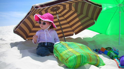 Photo of a toddler sitting on sand in the shade of a large beach umbrella wearing a broad brimmed hat, sunglasses, long sleeves & long pants.