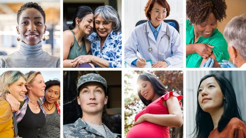 8 photos of 12 women of various ages, ethnicities and occupations.