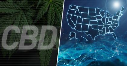 "conceptual montage including marijuana leaves, the acronym ""CBD"" and a map of the United States against a dark blue background with a wavy mesh pattern, a network of white dots connected by white lines and a bright burst of light as if from a star or the sun"