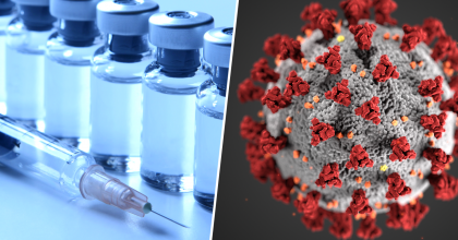 collage of two photos showing vaccine vials and a syringe on the left and a 3D illustration of the coronavirus (SARS-CoV-2) on the right