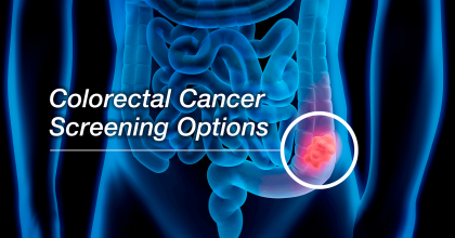 "Blue X-ray image of a colon with the words ""Colorectal Cancer Screening Options""  in the foreground."