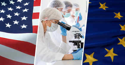 Composite image of U.S. flag, researchers, and European Union flag