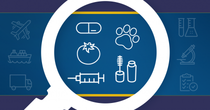 magnifying glass focused on icons of a pill, tomato, syringe, cat paw print, and mascara, with icons of a plane, ship, truck, beakers, microscope, and checklist on a clipboard surrounding the magnifying glass