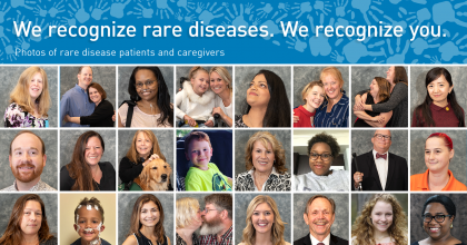 "24 portraits of smiling patients with rare diseases and caregivers in a grid and a banner across the top with a pattern of interconnected handprints behind animated text that reads ""We recognize rare diseases. We recognize you."" and ""Photos of rare disease patients and caregivers."""