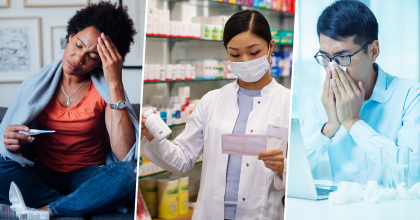 collage of three photos: woman sitting cross-legged holding head while looking a thermometer, pharmacist reading prescription and holding medicine bottle, man looking at open laptop while blowing his nose with glass of water and used tissues on table