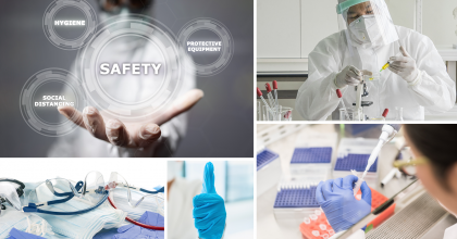 "collage of scientists working in laboratories, personal protective equipment (PPE) and the words ""safety, hygiene, protective equipment, social distancing"" in floating circles"