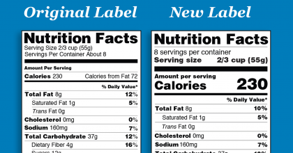 Side-by-side comparison of the top portions of the original and new Nutrition Facts Label designs