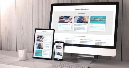 Photo of Desktop, Tablet and mobile view of medical device website