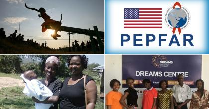 Photo collage showing an African child playing on a seesaw, the PEPFAR logo, six adults in front of an AIDS prevention poster, and two smiling women with one holding an infant.