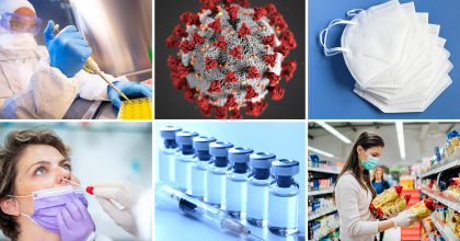 6 photos arranged in a grid: lab scientist waring full personal protection equipment using a pipet to prepare samples for testing; detailed realistic 3D computer generated illustration of the SARS-CoV-2 virus; face masks, a woman being tested for COVID-19 via nasal swab, a row of vaccine vials and a syringe, a woman waring a face mask reading the labels and holding bags of pasta in a grocery store