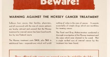 photo of a flyer with the headline Public Beware! from the FDA history collection