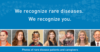 "Row of portraits of 8 rare disease patients and their caregivers below text that reads ""We recognize rare diseases. We recognize you."" and many hand prints in the form of a wave in the background."