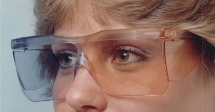 photo of person wearing weight loss vision glasses from the FDA history collection