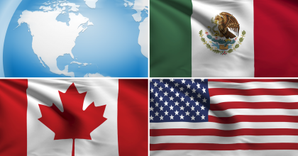 A collage of four images, including a globe focusing on Canada, the United States and Mexico combined with the flags of those countries.