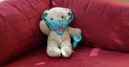 teddy bear with stethoscope and mask