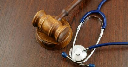 Gavel and stethoscope, representing medical countermeasure-related counterterrorism legislation