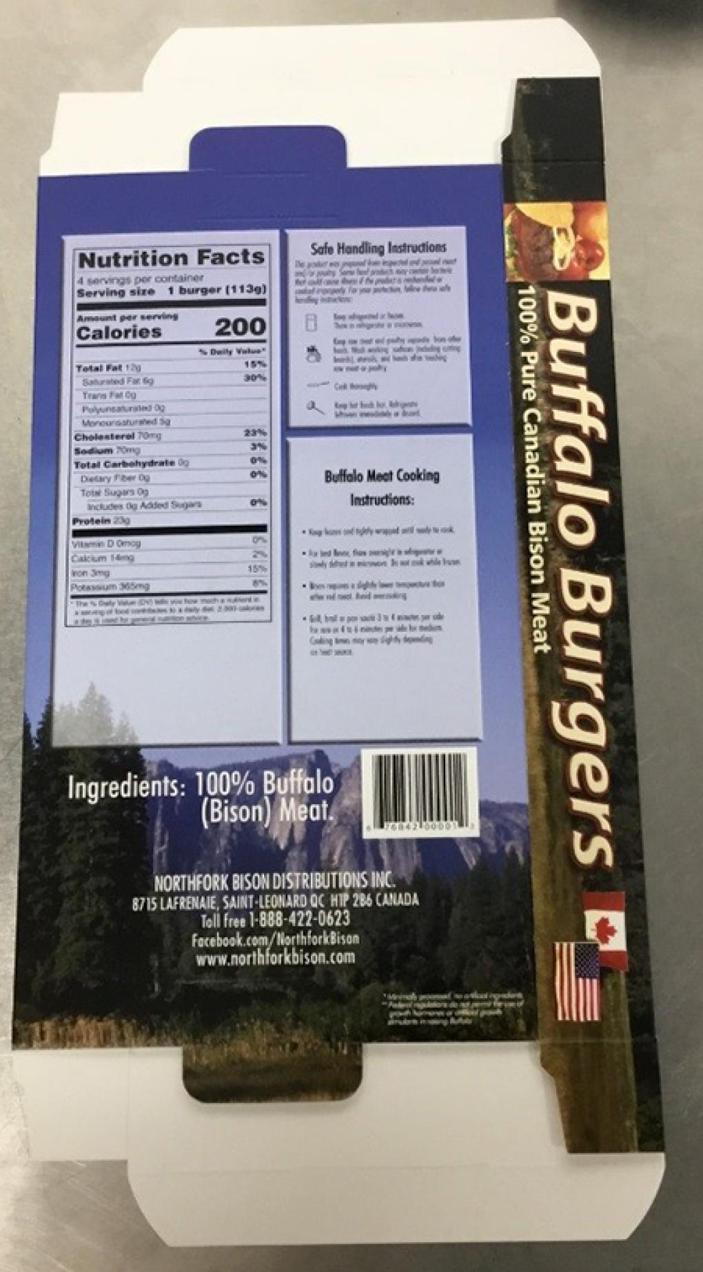 Back Product labeling Northfork Canadian Bison Ranch Buffalo Burgers Net Weight 16 oz (1 LB)