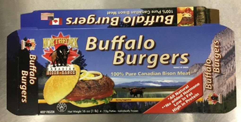 Front Product labeling Northfork Canadian Bison Ranch Buffalo Burgers Net Weight 16 oz (1 LB)