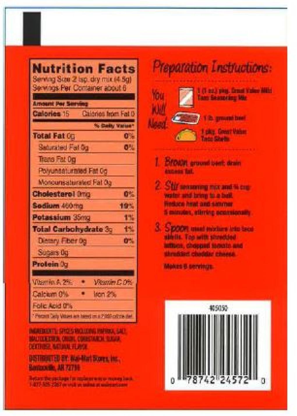 Great Value Mild Taco Seasoning, Net Wt. 1 oz, back label