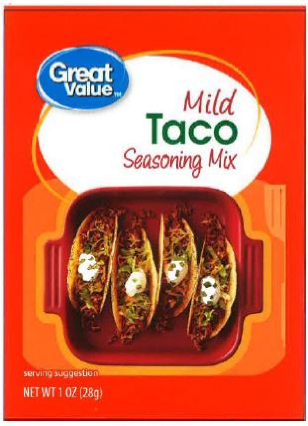 Great Value Mild Taco Seasoning, Net Wt. 1 oz, front label