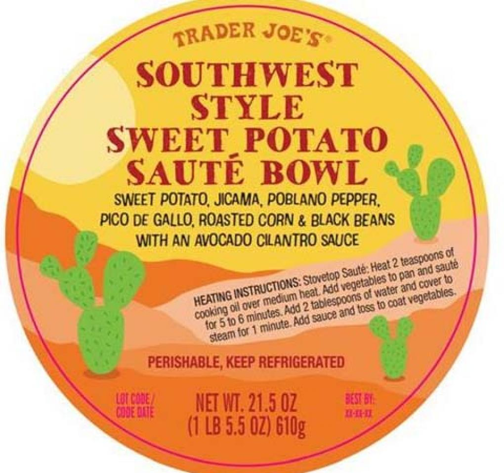 Southwest Style Sweet potato Saute Bowl Ingredient Label
