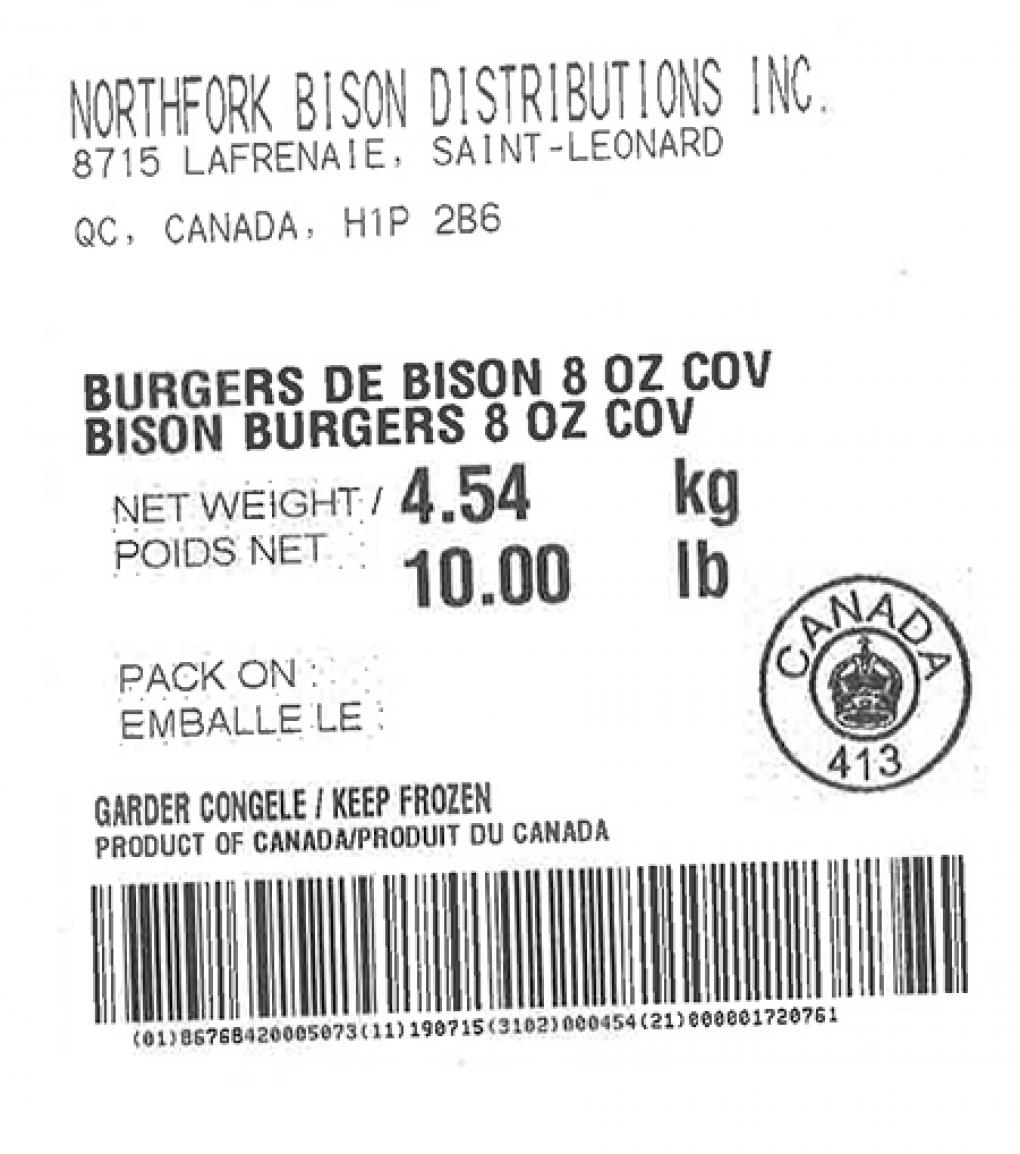 Product labeling Northfork Bison Distributions Inc. Bison Burgers 8 oz COV, Net Weight 10 LB