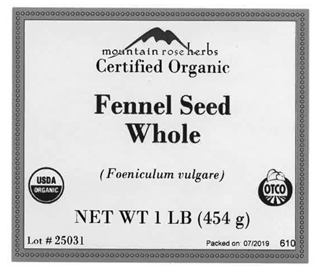 Mountain Rose Herbs, Certified Organic Fennel Seed Whole, Net Wt 1 lb , Front label