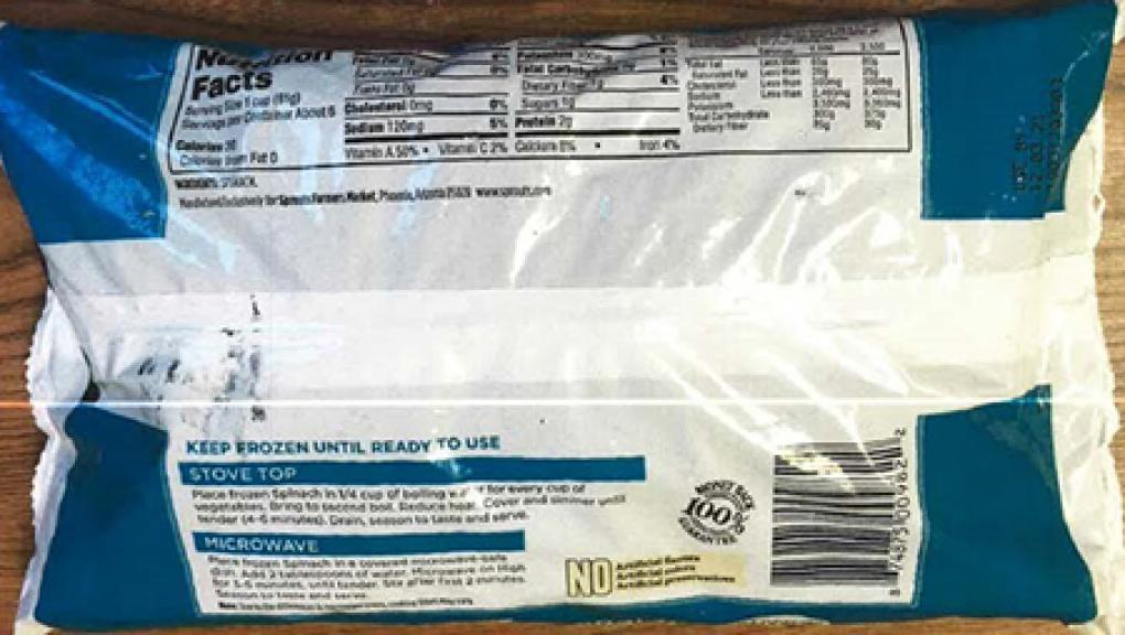 Back of Package – Nutrition Facts Panel and Cooking Instructions
