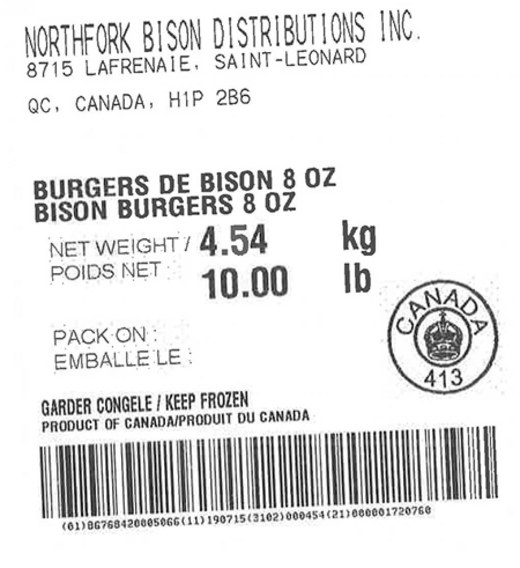 Product labeling Northfork Bison Distributions Inc. Bison Burgers 8 oz, Net Weight 10 LB