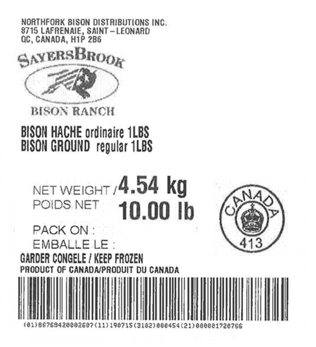 Product labeling Northfork Bison Distributions Inc. SayersBrook Bison Ranch Bison Ground regular 1 LBS, Net Weight 10 LB