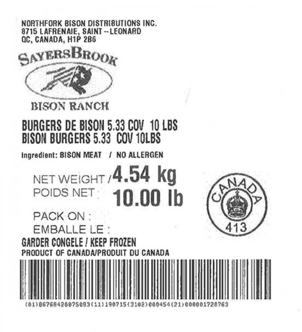 Product labeling Northfork Bison Distributions Inc. SayersBrook Bison Ranch Bison Burgers 5.33 COV Net Weight 10 LBS