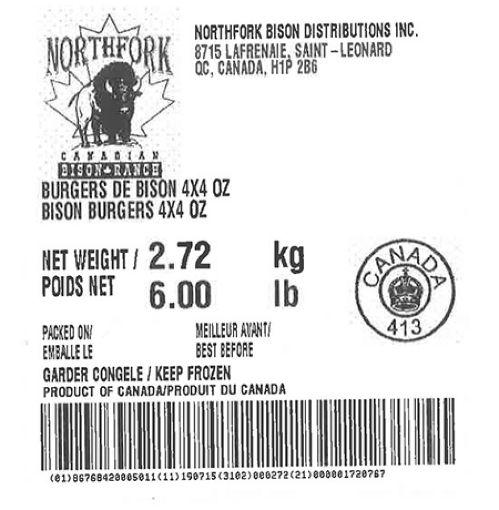 Product labeling Northfork Bison Distributions Inc. Bison Burgers 4x4 oz, Net Weight 6 LB