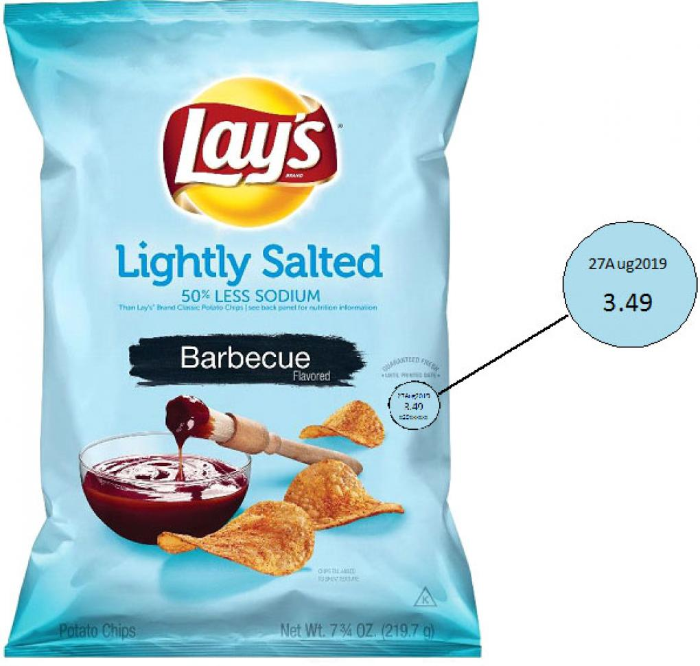 Label, Lay's Lightly Salted Barbecue Flavored Potato Chips