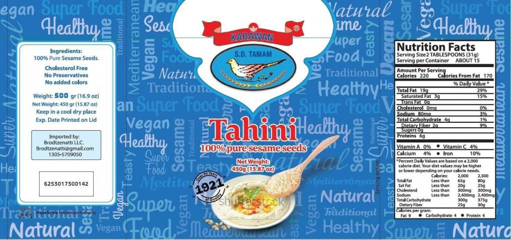 Retail Label for Karawan Brand Tahini, 450g, 15.87 oz