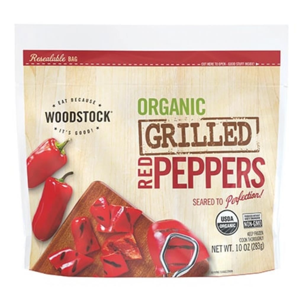 WOODSTOCK ORGANIC GRILLED RED PEPPERS, NET WT. 10 OZ (283g), FROZEN