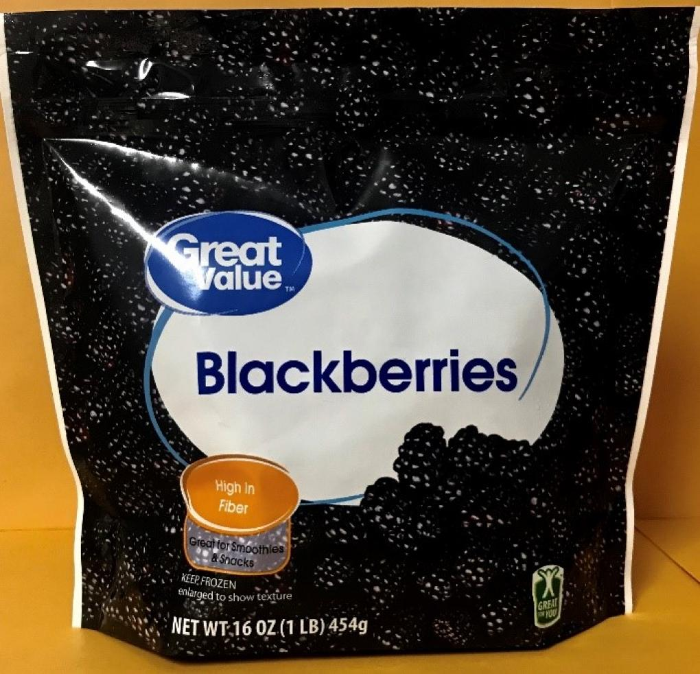 Front Package:  Great Value Blackberries, Net Wt. 16 oz.