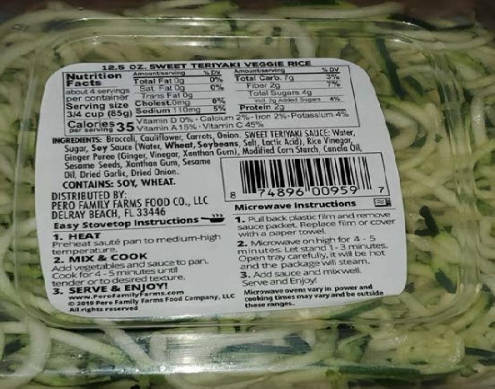 zucchini spiral pasta - nutritional info