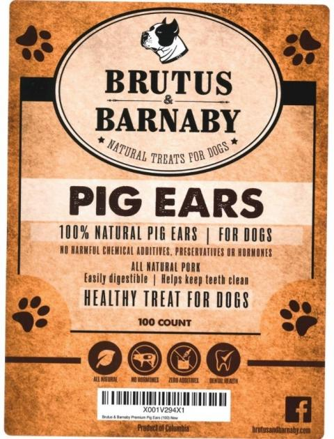 Label, Brutus & Barnaby Pig Ears, 100 count