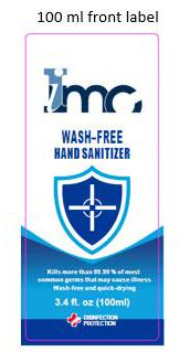 100 ml front label IMC Wash-Free Hand Sanitizer, 3.4 fl. oz.