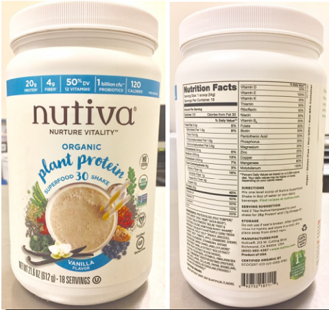 """HDPE Jar images, front panel and back panel, Nuvita Organic plant protein super food 30 shake Vanilla Flavor, 21.6 oz"""