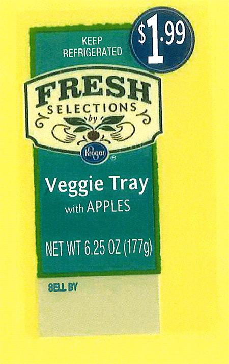 """Front and back labels: Fresh Selections by Kroger Veggie Tray with Apples"""