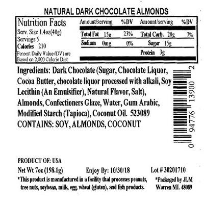 Nutrition Facts Panel – ALL NATURAL DARK CHOCOLATE ALMONDS 7 oz. February 2017 – October 2018 UPC 94776139002