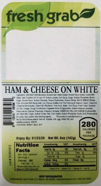 Label, Fresh Grab Ham & Cheese On White Wedge