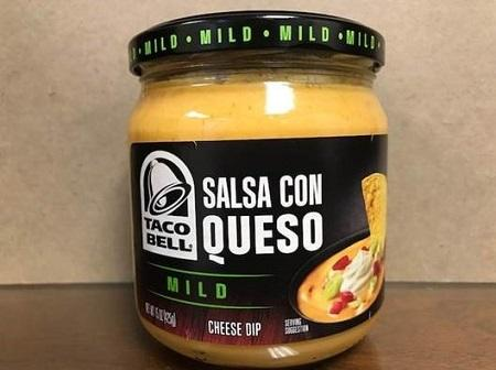 """Front label, Taco Bell Salsa Con Queso Mild Cheese Dip"""