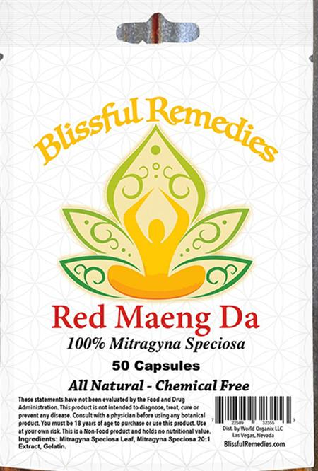 """Blissful Remedies, Red Maeng DA, 100% Mitragyna Speciosa, 50 Capsules"""