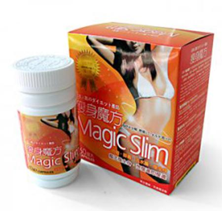Magic Slim capsules packed in a non-flexible white bottle with a white screw-on top