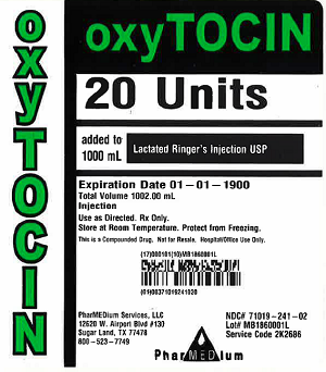 """Oxytocin 20 Units added to 1000 mL Lactated Ringer's Injection USP, NDC 71019-241-02"""