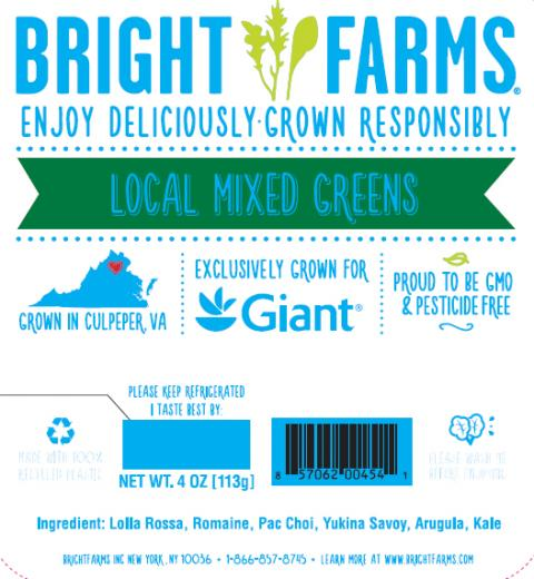 """Label, BrightFarms Local Mixed Greens for Giant"""